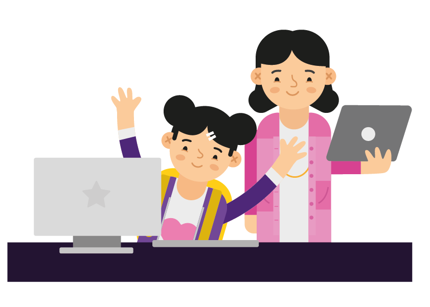 Mother and child at a computer.